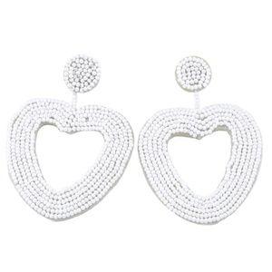 Large White Beaded Heart Drop Statement Earrings
